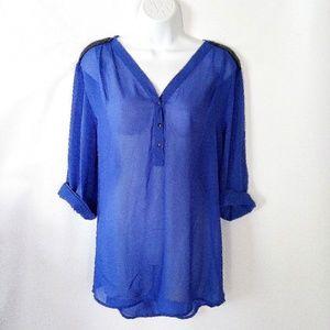 Tops - Sheer blue tunic w/ vegan leather trim
